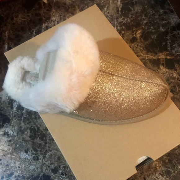 76112b292062 UGG Shoes   Scuffette Sparkle Slippers Gold   Poshmark